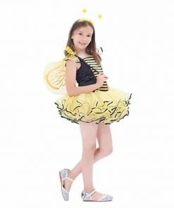 Girls Bumble Bee Costume, Fairy Princess Dress Up Sweet Honey With Dance Tutu Dress, Wings, Wand And Headband (10-12Y)