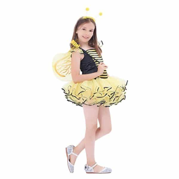 Girls Bumble Bee Costume, Fairy Princess Dress Up Sweet Honey With Dance Tutu Dress, Wings, Wand And Headband (10-12Y)