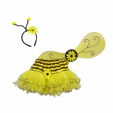 Girls Yellow Bee Dress Up Tutu, Wing & Headband Set