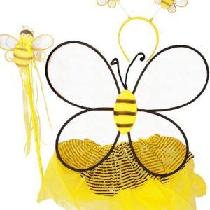 Girls Bumble Bee 4 Piece Tutu Set (Black & Yellow, One Size)