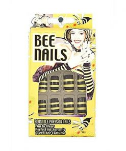 Bumble Queen Bee Nails Stick On 12 Black Yellow Halloween Costume Accessory New