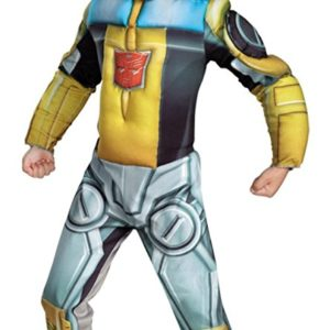 Boys Bumblebee Rescue Bot Muscle Kids Child Fancy Dress Party Halloween Costume