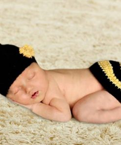 Youngate Bee Striped Newborn Baby Photo Props Crochet Knitted Hat & Hip Cover Set