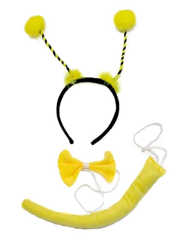 Bee Headband Yellow Bowtie Tail 3pc Costume for Children Halloween or Party