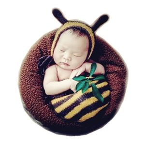 Fashion Newborn Baby Boy Girl Crochet Knitted Photography Props Bee Hat Sleeping Bag