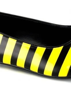 Lets Party By Pleaser Shoes Bee (Black Patent) Flat Adult Shoes / Black - Size 7