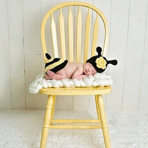 Chinatera Newborn Baby Bee Knit Crochet Photography Props Outfits Hat and Bottom