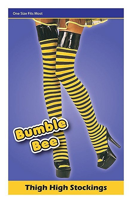 Adults Ladies Fancy Party Dress Accessory Long Bumble Bee Stockings Black-yellow