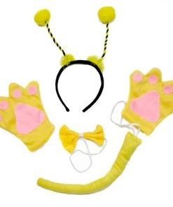 Bee Headband Yellow Bowtie Tail Gloves 4pc Costume for Child Birthday Party