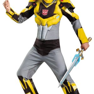 UHC Boy's Transformers Bumblebee Classic MUSCLE Child Halloween Costume, Child S (4-6)