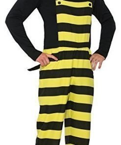 Forum Women's Worker Bee Stripped Overalls and Hat Costume
