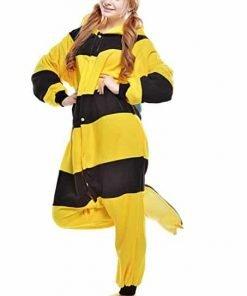 Newcosplay Adult Unisex Bee Onesie Pajama Costume