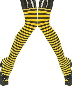 Womens Fancy Dress Party Costume Accessory Bumble Bee Stockings Hold Ups