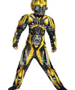 Disguise Bumblebee Movie Classic Muscle Costume, Yellow, Medium (7-8)