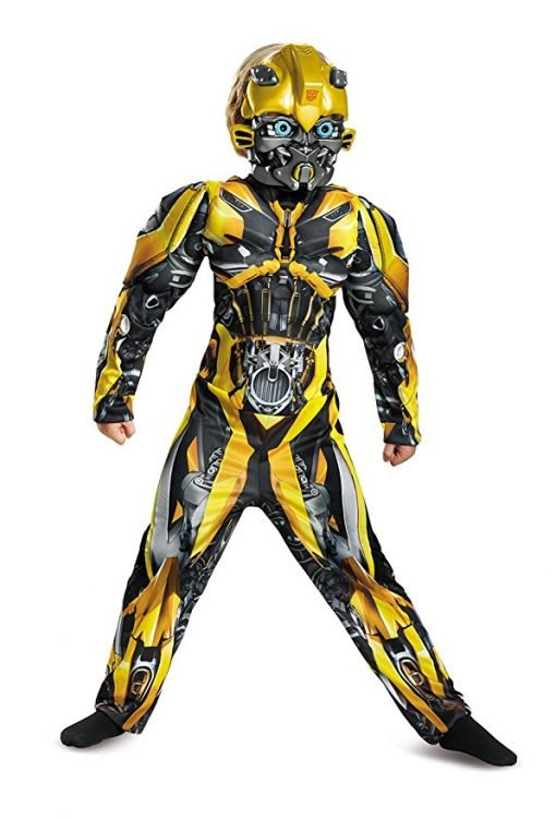 Disguise Bumblebee Movie Classic Muscle Costume, Yellow, Large (10-12)