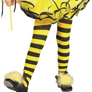 Bumble Bee Yellow/Black Striped Toddler Child Kids Size Costume Stockings Tights