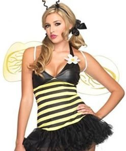 Leg Avenue Women's Daisy Bee Dress with Head Piece, Petticoat Dress, Leg Warmers